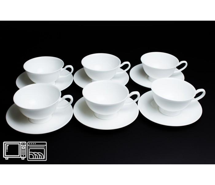 Набор чайных пар 6 шт. 200мл Белый, Rulanda