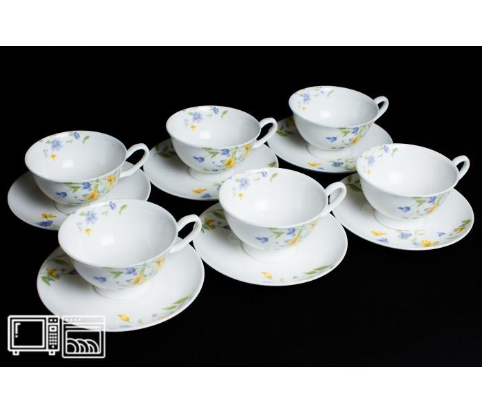Набор чайных пар 6 шт. 200мл Сиреневый цветок, Rulanda